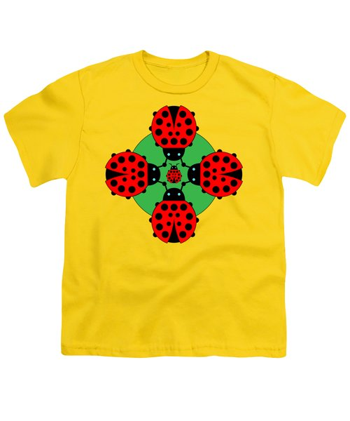 Five Lucky Ladybugs Youth T-Shirt by John Groves