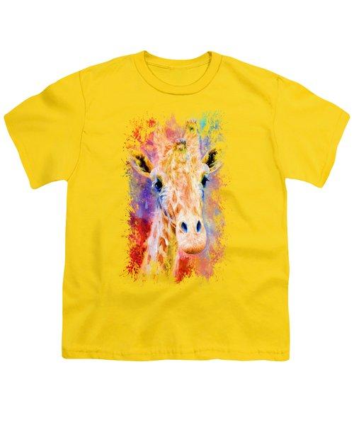 Jazzy Giraffe Colorful Animal Art By Jai Johnson Youth T-Shirt by Jai Johnson