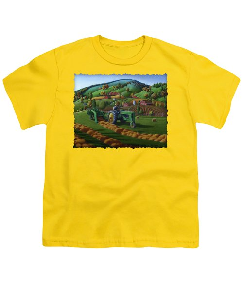 John Deere Tractor Baling Hay Farm Folk Art Landscape - Vintage - Americana Decor -  Painting Youth T-Shirt by Walt Curlee