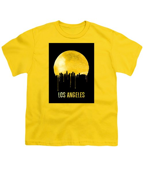 Los Angeles Skyline Yellow Youth T-Shirt by Naxart Studio
