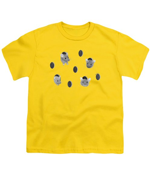 Mice In Swiss Cheese Youth T-Shirt by Rita Palmer