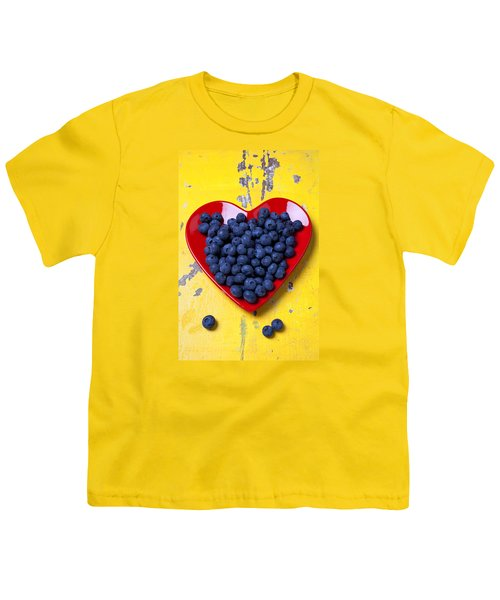 Red Heart Plate With Blueberries Youth T-Shirt by Garry Gay