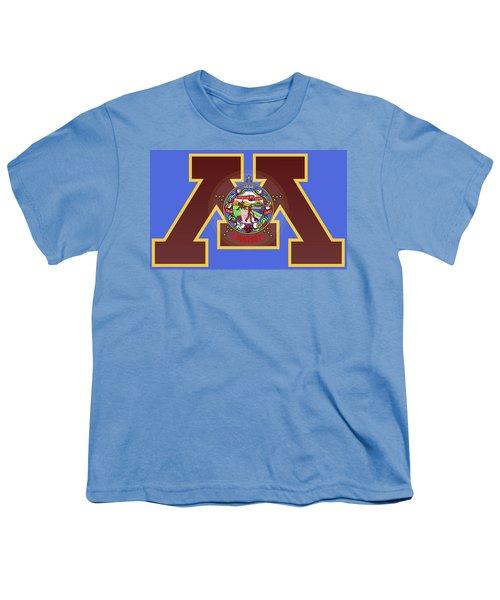U Of M Minnesota State Flag Youth T-Shirt by Daniel Hagerman