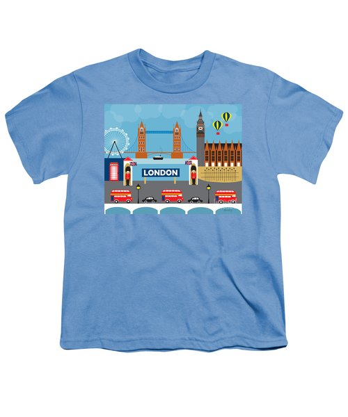 London England Skyline Style O-lon Youth T-Shirt by Karen Young