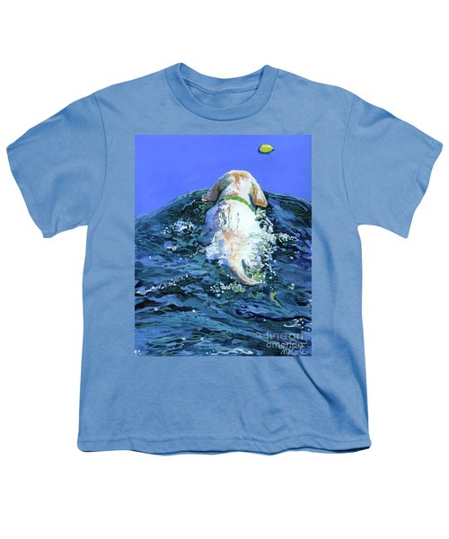 Yellow Lab  Blue Wake Youth T-Shirt by Molly Poole