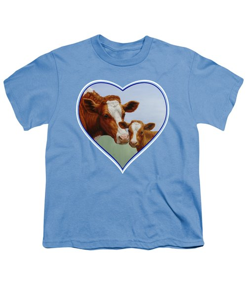 Cow And Calf Blue Heart Youth T-Shirt by Crista Forest