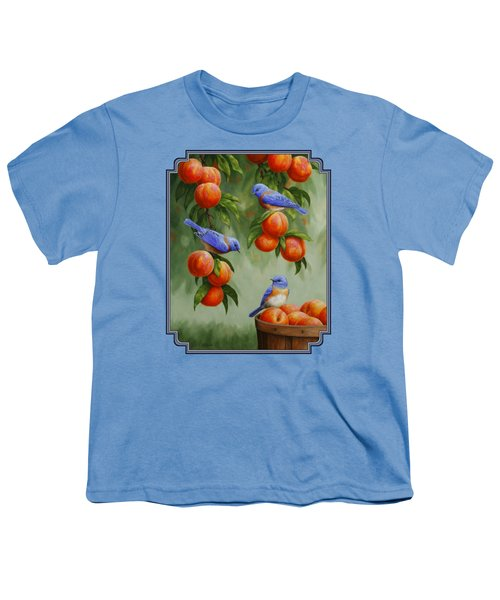 Bird Painting - Bluebirds And Peaches Youth T-Shirt by Crista Forest