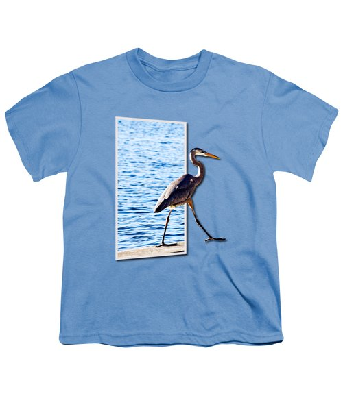 Blue Heron Strutting Out Of Frame Youth T-Shirt by Roger Wedegis