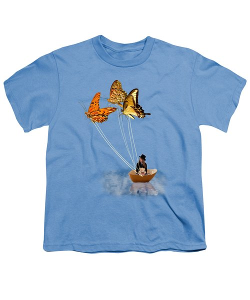 Butterfly Sailing Youth T-Shirt by Linda Lees