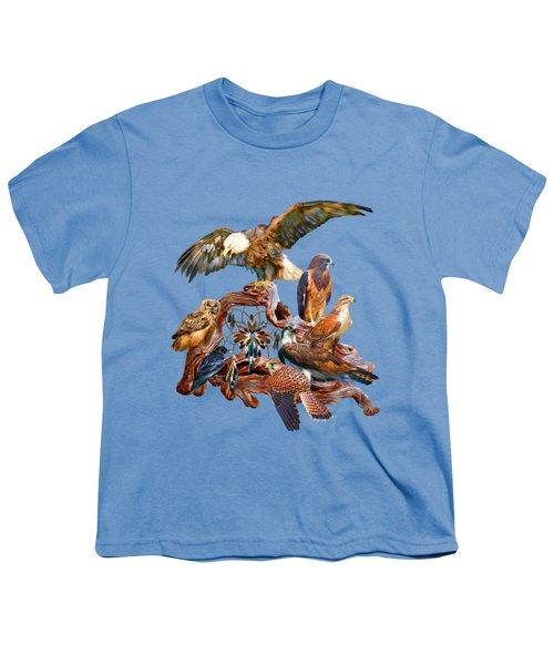 Dream Catcher - Spirit Birds Youth T-Shirt by Carol Cavalaris