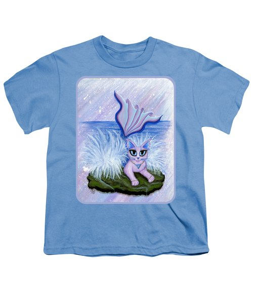 Elemental Water Mermaid Cat Youth T-Shirt by Carrie Hawks