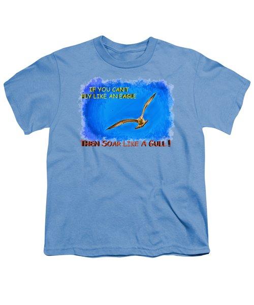 Flying Gull Youth T-Shirt by John M Bailey