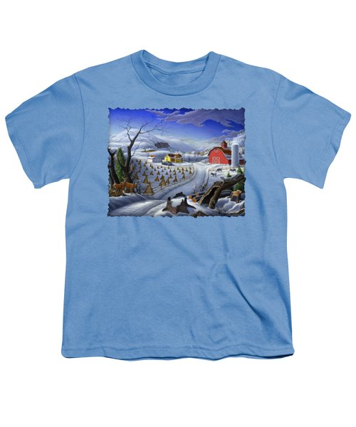 Folk Art Winter Landscape Youth T-Shirt by Walt Curlee