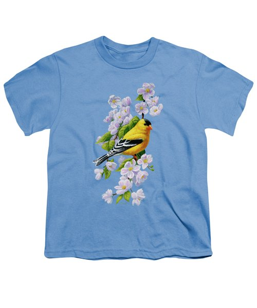 Goldfinch Blossoms Greeting Card 1 Youth T-Shirt by Crista Forest