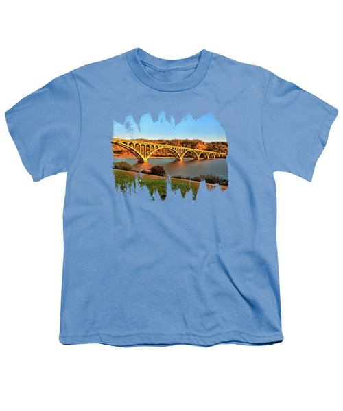 Historic Patterson Bridge Gold Beach Youth T-Shirt by Thom Zehrfeld