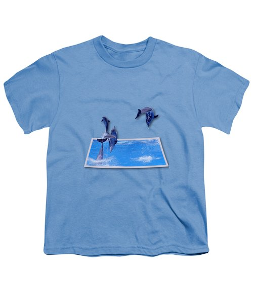 Leaping Dolphins Youth T-Shirt by Roger Wedegis