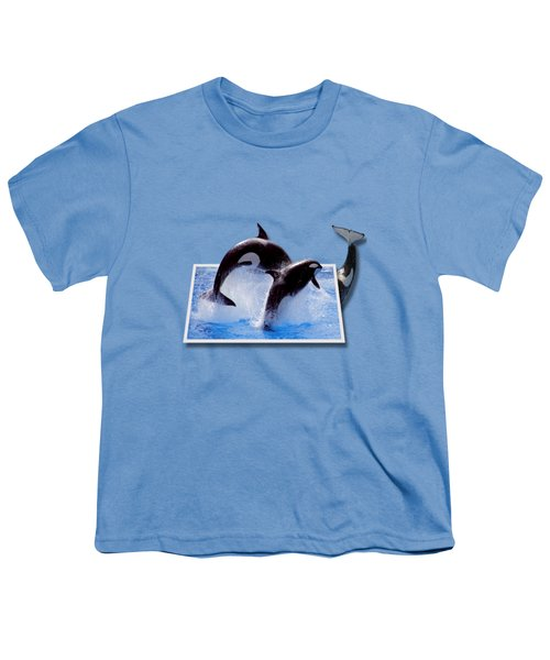 Leaping Orcas Youth T-Shirt by Roger Wedegis