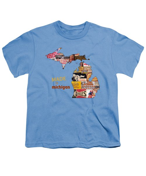 Made In Michigan Products Vintage Map On Wood Youth T-Shirt by Design Turnpike
