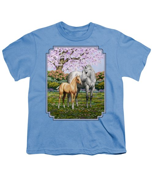 Mare And Foal Pillow Blue Youth T-Shirt by Crista Forest