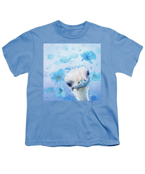 Ostrich In A Field Of Poppies Youth T-Shirt by Jan Matson
