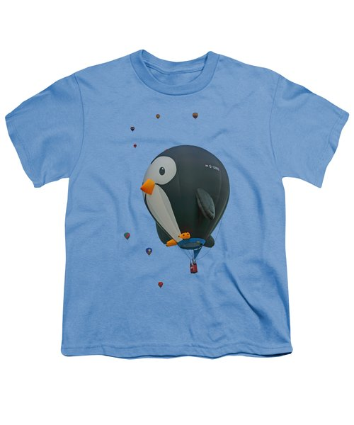 Penguin - Hot Air Balloon - Transparent Youth T-Shirt by Nikolyn McDonald