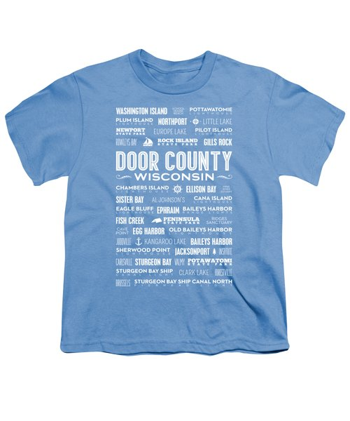 Places Of Door County On Blue Youth T-Shirt by Christopher Arndt