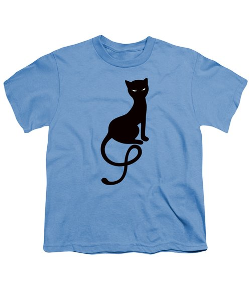 Purple Gracious Evil Black Cat Youth T-Shirt by Boriana Giormova