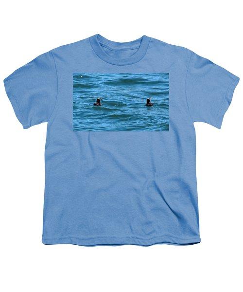Rhinoceros Auklet Youth T-Shirt by Linda Kerkau