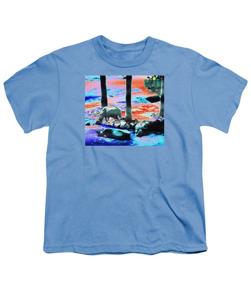 Rhinos Having A Picnic Youth T-Shirt by Abstract Angel Artist Stephen K