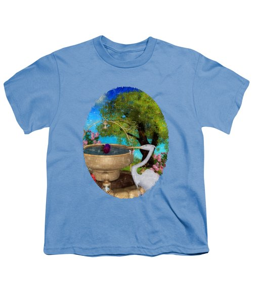 The Rose Path Egret Youth T-Shirt by Sharon and Renee Lozen