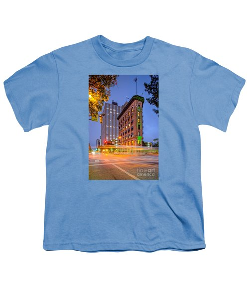 Twilight Photograph Of The Flatiron Building In Downtown Fort Worth - Texas Youth T-Shirt by Silvio Ligutti