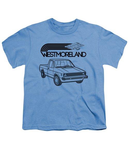 Vw Rabbit Pickup - Westmoreland Theme - Black Youth T-Shirt by Ed Jackson