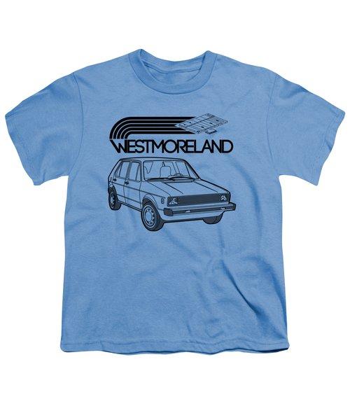 Vw Rabbit - Westmoreland Theme - Black Youth T-Shirt by Ed Jackson