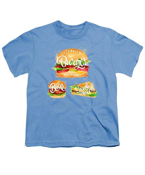 White Burger Youth T-Shirt by Aloke Design