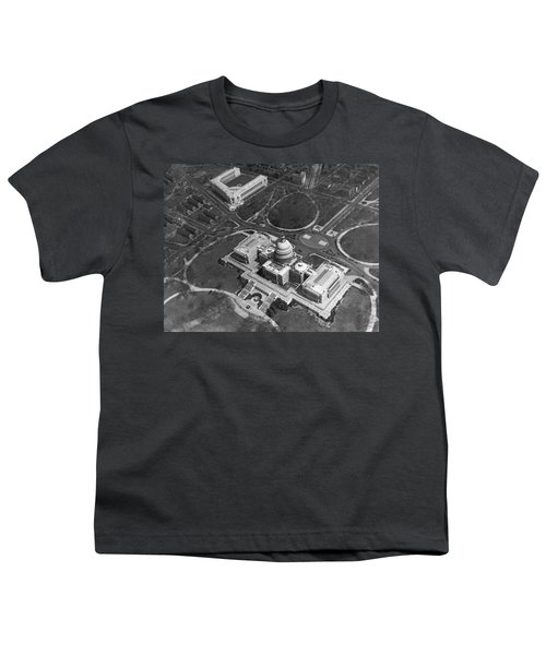Aerial View Of U.s. Capitol Youth T-Shirt by Underwood Archives