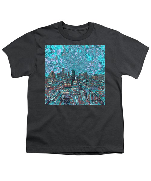 Austin Texas Vintage Panorama 4 Youth T-Shirt by Bekim Art