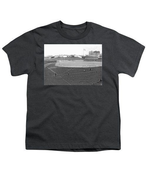Baseball At Yankee Stadium Youth T-Shirt by Underwood Archives