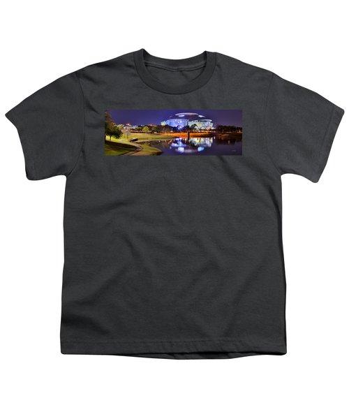 Dallas Cowboys Stadium At Night Att Arlington Texas Panoramic Photo Youth T-Shirt by Jon Holiday