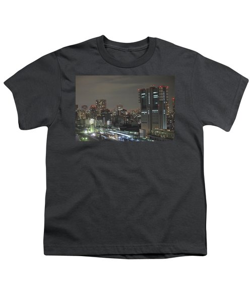 Docomo Tower Over Shinagawa Station And Tokyo Skyline At Night Youth T-Shirt by Jeff at JSJ Photography