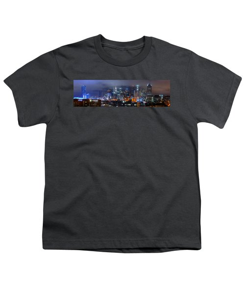 Gotham City - Los Angeles Skyline Downtown At Night Youth T-Shirt by Jon Holiday