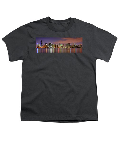 Miami Skyline At Dusk Sunset Panorama Youth T-Shirt by Jon Holiday