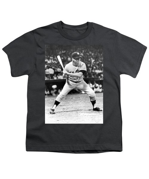 Mickey Mantle At Bat Youth T-Shirt by Underwood Archives