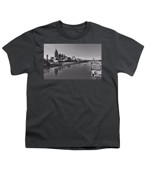 Nashville Skyline In Black And White At Day Youth T-Shirt by Dan Sproul