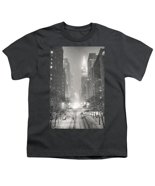 New York City - Winter Night Overlooking The Chrysler Building Youth T-Shirt by Vivienne Gucwa