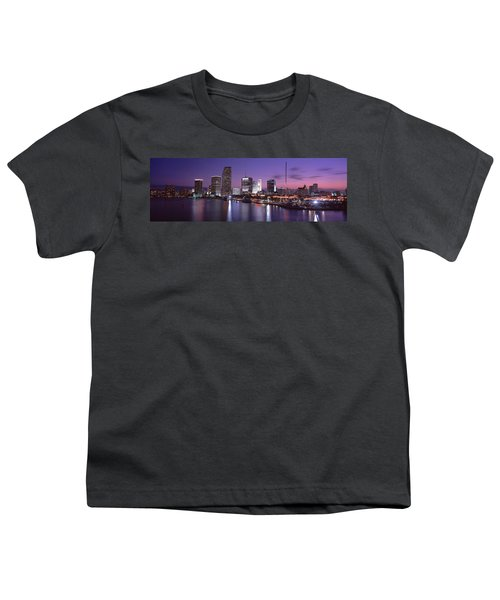 Night Skyline Miami Fl Usa Youth T-Shirt by Panoramic Images
