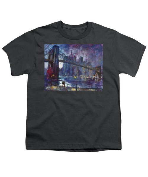Romance By East River Nyc Youth T-Shirt by Ylli Haruni