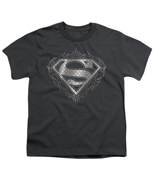 Superman - Tribal Steel Logo Youth T-Shirt by Brand A