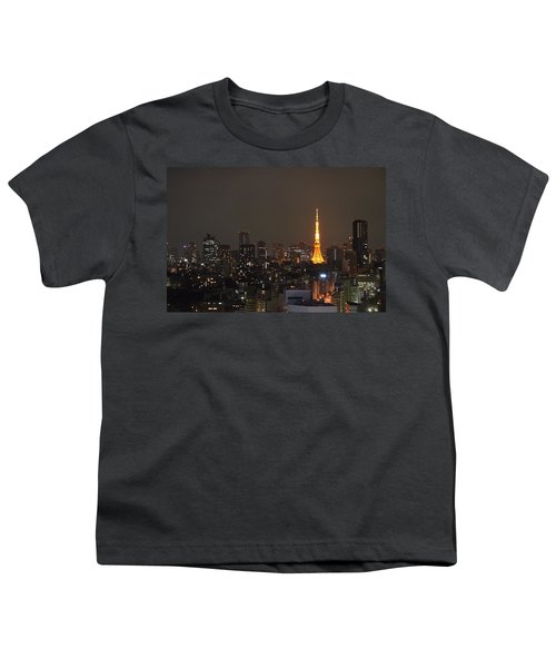 Tokyo Skyline At Night With Tokyo Tower Youth T-Shirt by Jeff at JSJ Photography