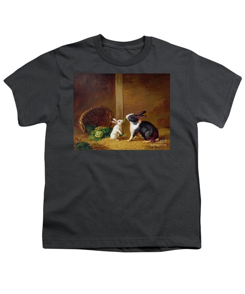 Two Rabbits Youth T-Shirt by H Baert