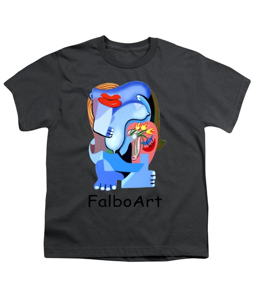 Blue Nude With Tulips Youth T-Shirt by Anthony Falbo